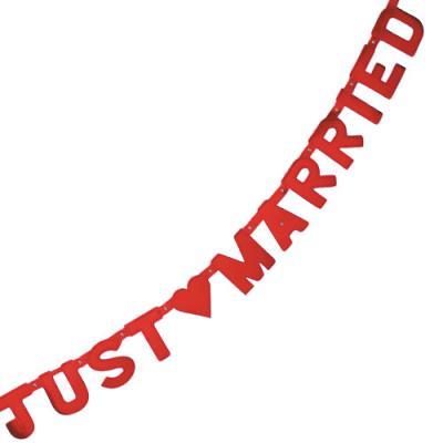 "Buchstabenkette ""Just Married"" rot"