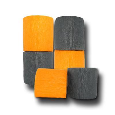 6 Rollen Dekokrepp orange-schwarz