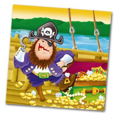 20 Kindergeburtstag Servietten mit grimmigem Piraten Kapitän Motiv.