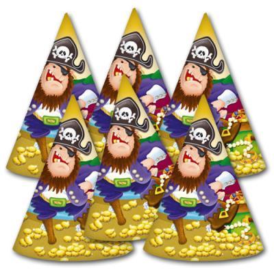 6 Partyhütchen für den Kindergeburtstag Pirat zum Sonderpreis.