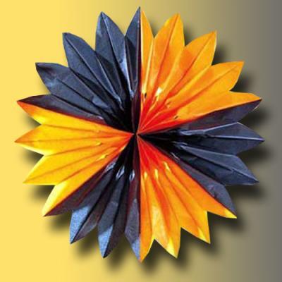 orange-schwarz Rosette 60 cm