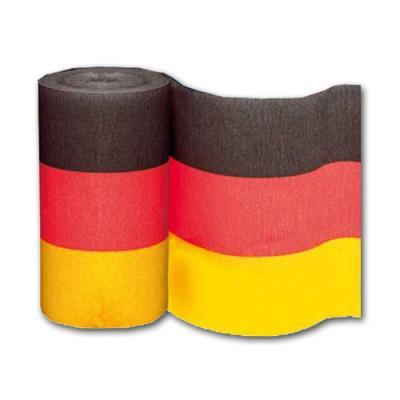 3 Rollen Dekokrepp in den Farben der Deutschland Flagge schwarz-rot-orange.