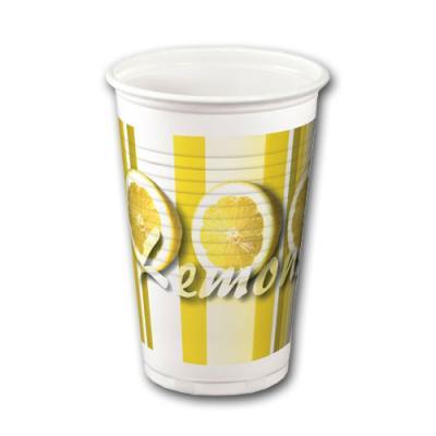 Plastikbecher mit Zitronen Aufdruck in gelb-weiß.