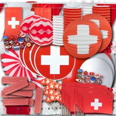 Riesiges Schweiz Dekoset XXL mit rot-weißer Partydeko im Design der Schweiz Flagge.