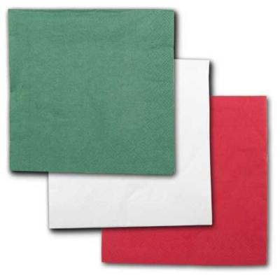 Grüne, weiße und rote Papierservietten im Sparset.