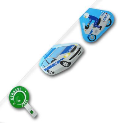 1 Motivgirlande mit Polizeikellen, Polizeiauto und Polizeimotorrad Motiven für die Kindergeburtstag Mottoparty.