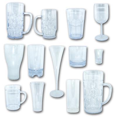 Musterset mit allen hochwertigen Kunststoff Trinkgläsern TOP in Glasoptik.