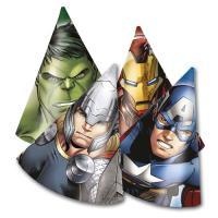 6 Partyhütchen aus Karton mit Motiven von Iron Man, Thor,...