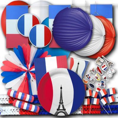 Großes Frankreich Partyset mit Partydeko und Partygeschirr in den blau-weiß-roten Farben der Frankreich Flagge.