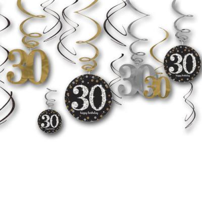 12 Dekospiralen in gold, schwarz und silber mit Zahlen 30 und happy birthday Aufdruck für die 30er Geburtstagsdeko.