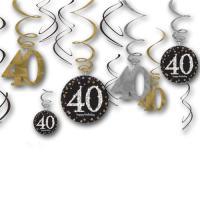 12 Dekospiralen in gold, schwarz und silber mit Zahl 40...