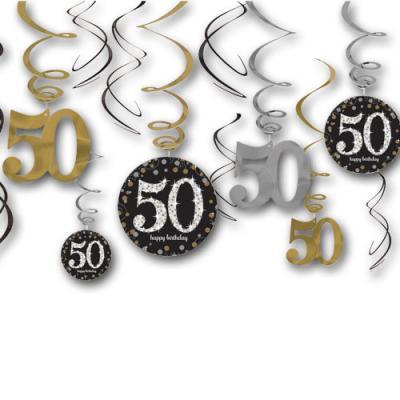 12 Dekospiralen in gold, schwarz und silber mit Zahlen 50 und happy birthday Aufdruck, für die 50er Geburtstagsdeko.