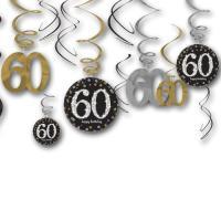 12 Dekospiralen in gold, schwarz und silber mit Zahlen 60...