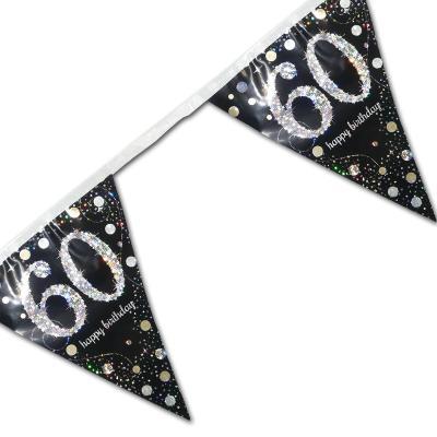 Edle Wimpelkette schwarz mit silber glänzendem 60er und Happy Birthday Aufdruck.