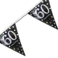 Edle Wimpelkette schwarz mit silber glänzendem 60er und...