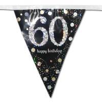 Großaufnahme der Wimpelkette schwarz mit silber glänzendem 60er und Happy Birthday Aufdruck.