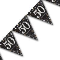 Edle Wimpelkette schwarz mit silber glänzender Zahl 50,...