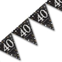 Edle Geburtstagsdeko Wimpelkette in schwarz, mit silber...