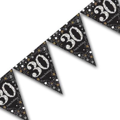 Edle Wimpelkette schwarz mit silber glänzender Zahl 30 und Happy Birthday Aufdruck, sowie Sternen und Punkten in gold und silber.