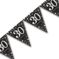 Edle Wimpelkette schwarz mit silber glänzender Zahl 30...
