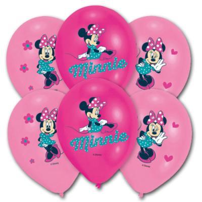 6 pinkfarbene Luftballons mit Minnie Mouse Motiv für die Kindergeburtstag Partydekoration.