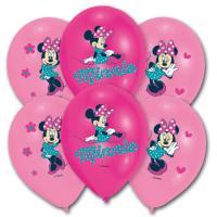 6 pinkfarbene Luftballons mit Minnie Mouse Motiv für die...