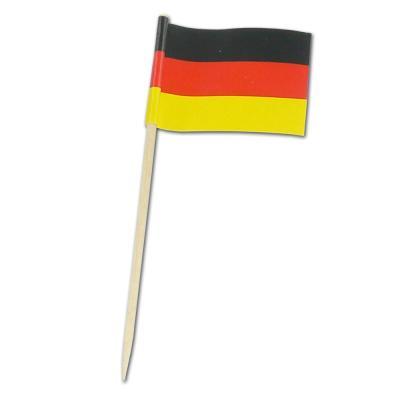 50 Stück Flaggenpicker mit Deutschland Fahnen am Holz Zahnstocher.