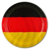 8 schwarz-rot-gelborange gestreifte Pappteller im Design...