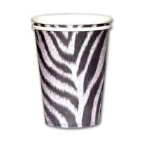8 Pappbecher mit Zebramuster für den Safari Partytisch -...