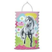 1 farbenfrohe Zuglaterne mit Pferdemotiv für die...