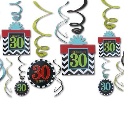12 Dekospiralen bunt mit Zahlen 30 und CELEBRATE Aufdruck für die 30er Geburtstagsdeko.