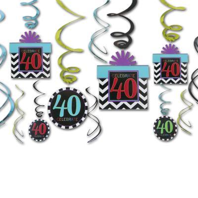 12 Dekospiralen bunt mit Zahlen 40 und CELEBRATE Aufdruck für die 40er Geburtstagsdeko.