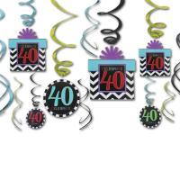 12 Dekospiralen bunt mit Zahlen 40 und CELEBRATE Aufdruck...