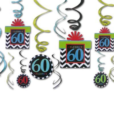 12 Dekospiralen bunt mit Zahlen 60 und CELEBRATE Aufdruck für die 60er Geburtstagsdeko.