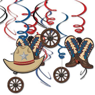 Dekospiralen mit Wilder Westen & Cowboys Motiven (Cowboy Stiefel, Cowboy Hut, Holzrad).