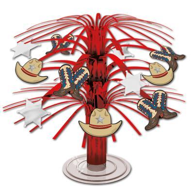 Tischdekoration mit roten Kunststofffransen und Wilder Westen & Cowboys Motiven.