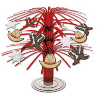 Tischdekoration mit roten Kunststofffransen und Wilder...