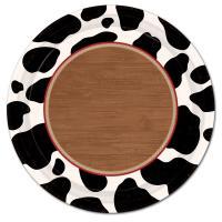 Pappteller mit schwarz-weißen Kuhfell Flecken & Holz Muster.