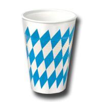 Plastikbecher Oktoberfest mit bayrischen Rautemuster