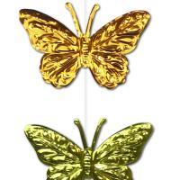 1 Dekovorhang mit bunten Schmetterlingen aus Glitzerfolie.