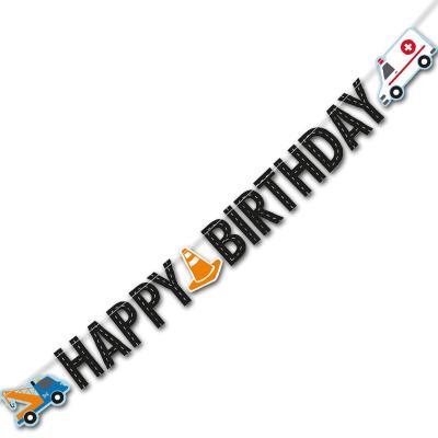 """1 Partykette mit HAPPY BIRTHDAY Schriftzug und passenden Motiven für die Kindergeburtstag Mottoparty """"Fahrzeuge""""."""