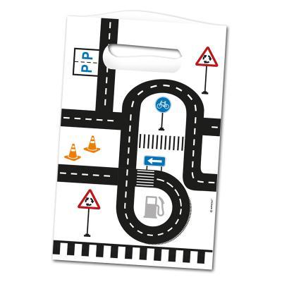 """8 Kindergeburtstag """"Fahrzeuge"""" Papier-Partytaschen mit Straßen und Verkehrsschilder Motiven."""