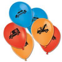 6 farbige Luftballons mit Polizeiauto, Feuerwehrauto und...