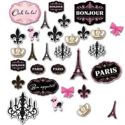 30 Stück unterschiedliche Frankreich Dekomotive in den Farben rosa, schwarz und gold.