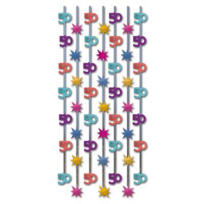 1 Geburtstagsdeko Vorhang mit bunten 50er-Motiven und Sternen aus Glitzerfolie für die Mottoparty zum runden 50er Jubiläum.