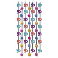 1 Geburtstagsdeko Vorhang mit bunten 50er-Motiven und...