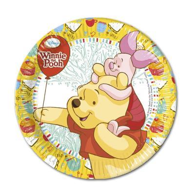 Bunte Pappteller mit ca. 19,5 cm Durchmesser mit Winnie the Pooh Motiv für den Kindergeburtstag Partytisch.
