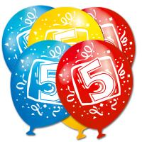 Luftballons in den Farben rot,gelb und blau mit weißer...