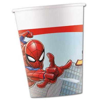 8 Kindergeburtstag Partybecher mit Spiderman Motiven.