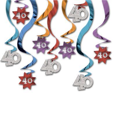 12 Dekospiralen in gold, schwarz und silber mit Zahl 40 und happy birthday Aufdruck für die 40er Geburtstagsdeko.